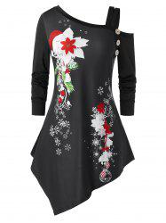 Plus Size Christmas Flower Snowflake Cold Shoulder Asymmetrical Tee -