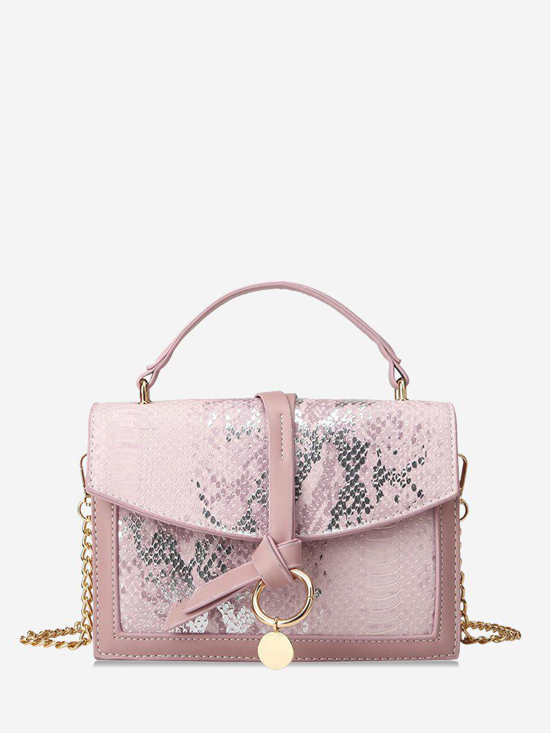Store Snakeskin Embossed Sequined Top Handle Crossbody Bag
