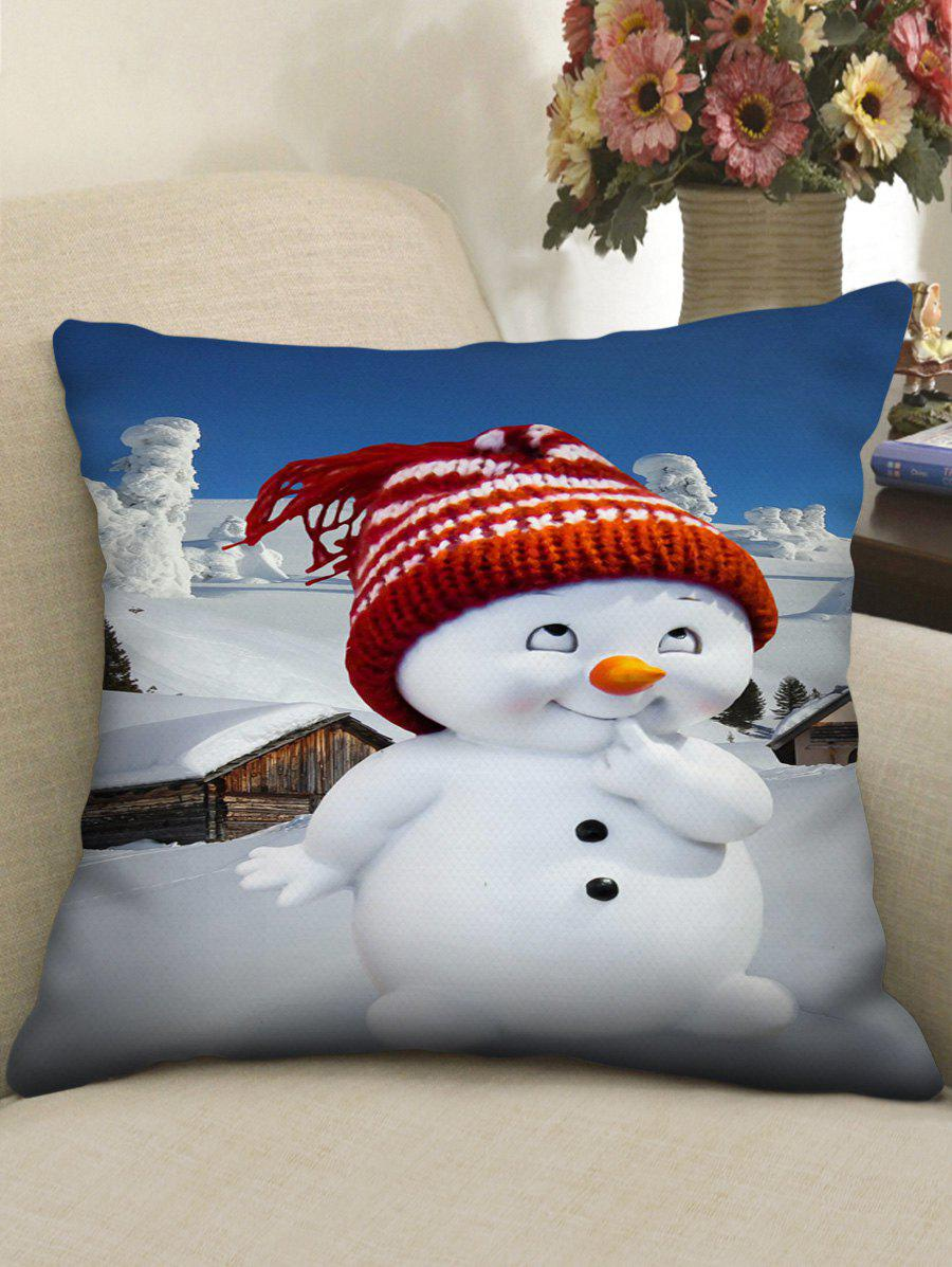 Affordable Christmas Cute Snowman Print Decorative Pillowcase