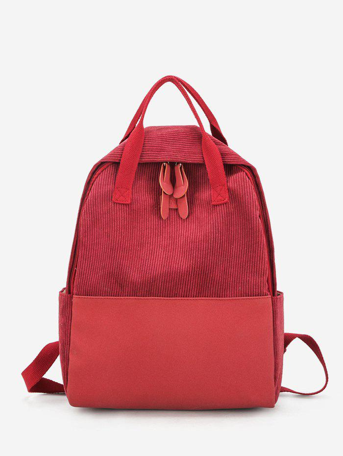 Outfit PU Panel Corduroy Top Handle Casual Backpack