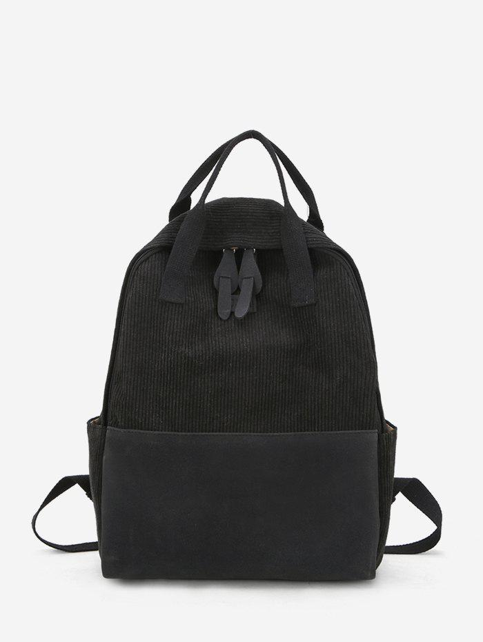 Fancy Patch Corduroy Casual College Backpack