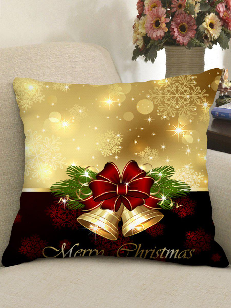 Discount Christmas Bowknot Snowflake Print Decorative Pillowcase