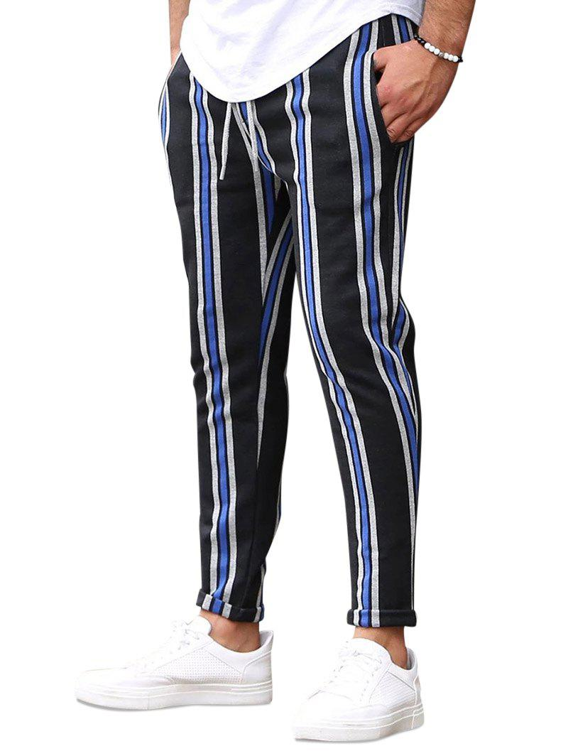 Fancy Vertical Striped Drawstring Pencil Pants