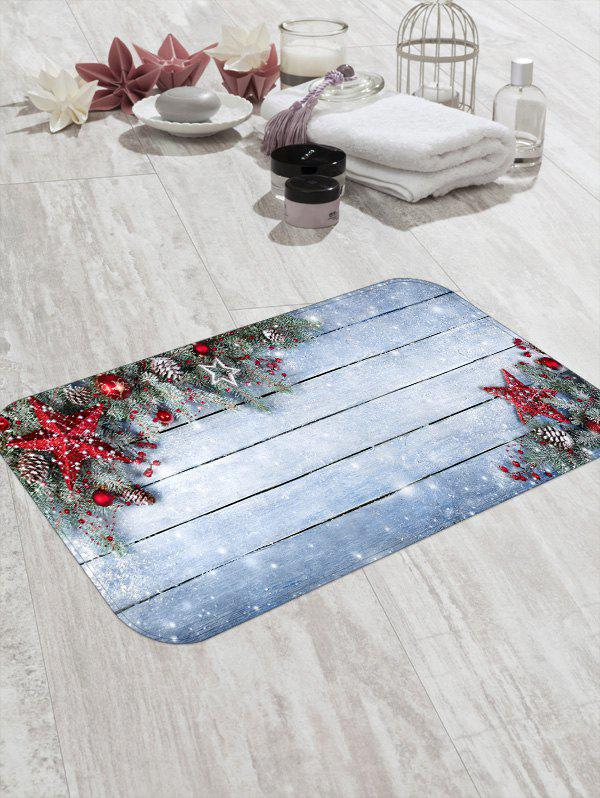 Online Christmas Star Wooden Board Pattern Water Absorption Area Rug
