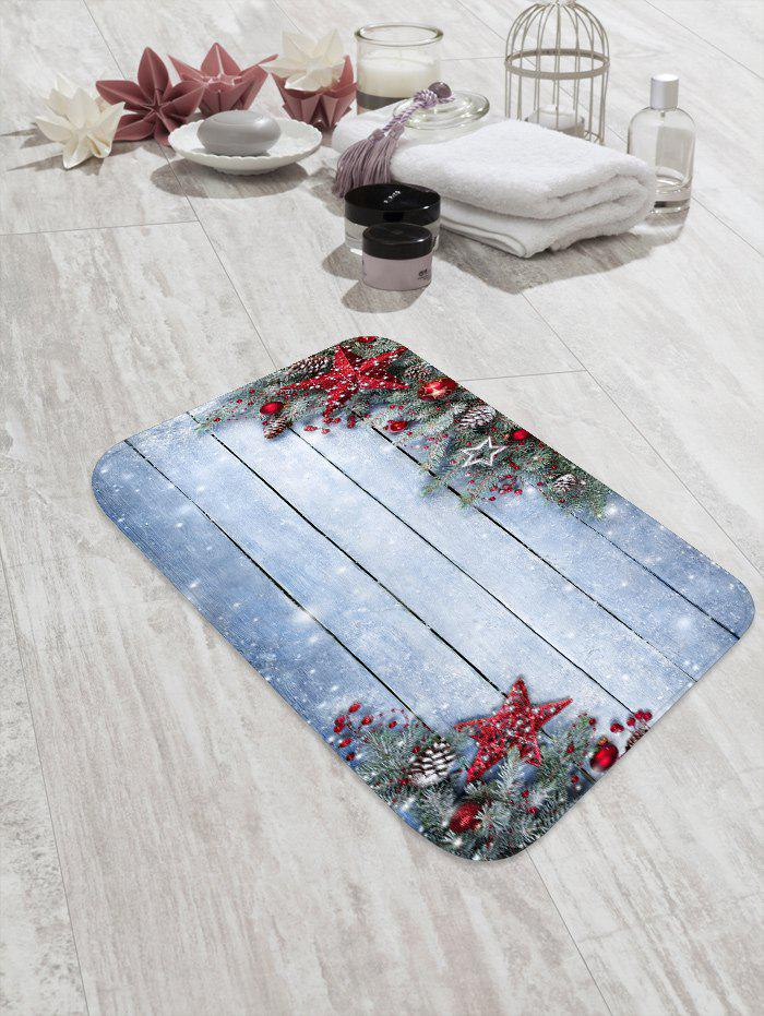 Trendy Christmas Star Wooden Board Pattern Water Absorption Area Rug