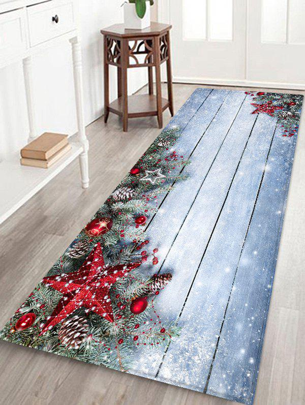 Discount Christmas Star Wooden Board Pattern Water Absorption Area Rug