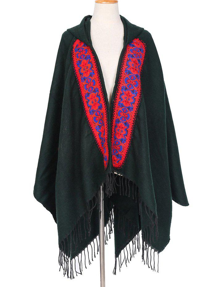 Fancy Ethnic Hooded Floral Knitted Fringe Shawl