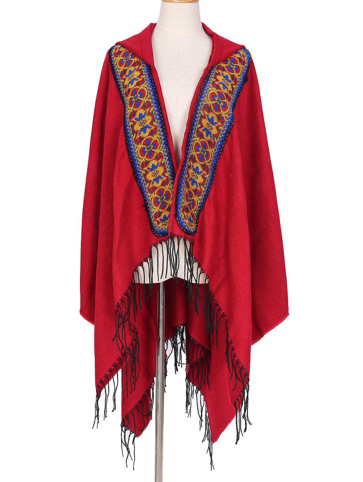 Cheap Ethnic Hooded Floral Knitted Fringe Shawl