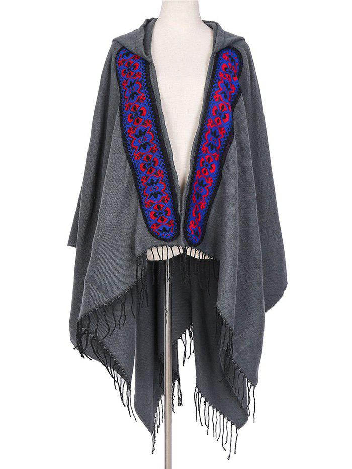 Discount Ethnic Hooded Floral Knitted Fringe Shawl