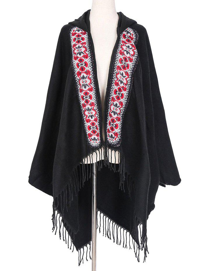 Outfit Ethnic Hooded Floral Knitted Fringe Shawl