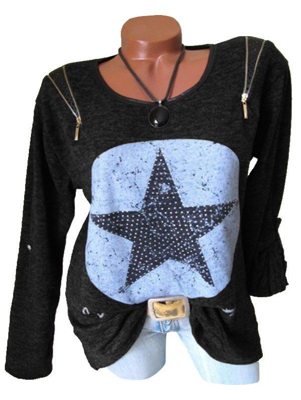 Online Plus Size Heathered Zippers Stars Print T Shirt