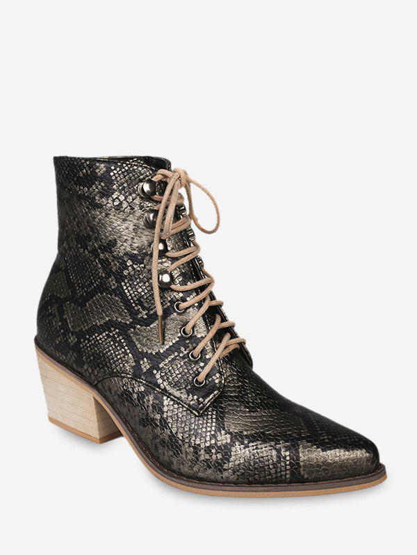 Outfits Snakeskin Print Pointed Toe Stacked Heel Boots