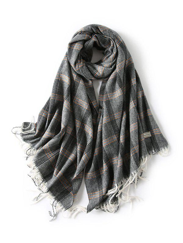 Fashion British Style Plaid Herringbone Fringed Scarf