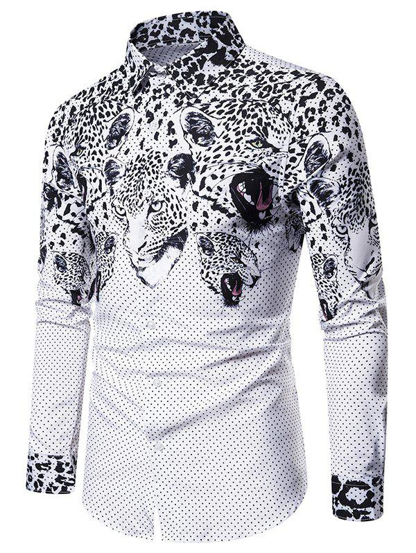POIS imprimé léopard Slim Fit Shirt Casual