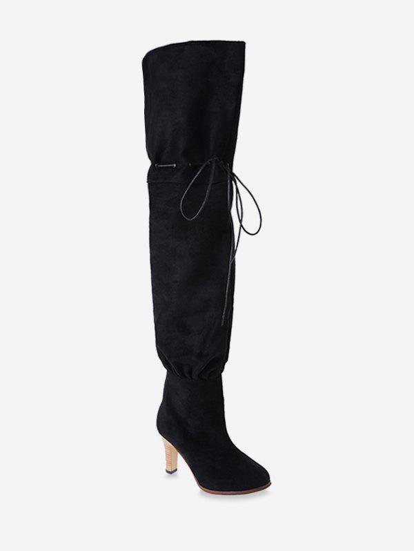 Hot Plain Suede Drawstring Thigh High Boots