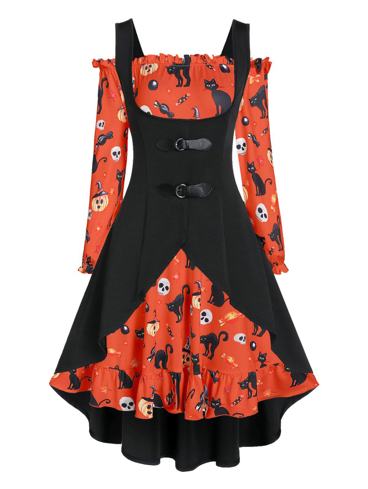 New Off The Shoulder Cat Skull Print Halloween Dress with Top