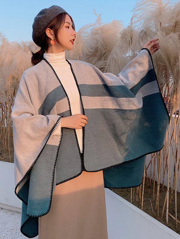 Affordable Striped Colorblock Split Open Front Poncho Cape