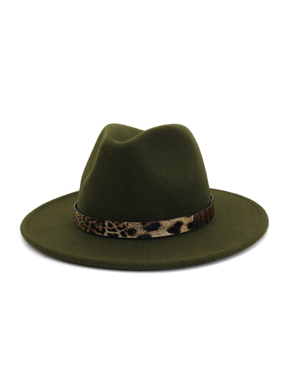 New Leopard Print Belt Design Jazz Fedoras
