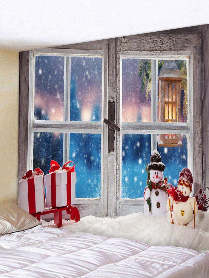 Fancy Christmas Window Snowman Gifts Print Tapestry Wall Hanging Art Decoration