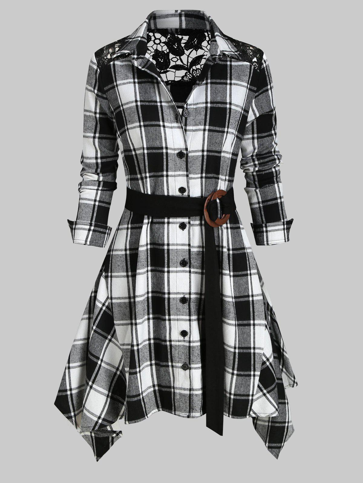 Trendy Lace Panel Plaid Belted Asymmetric Shirt