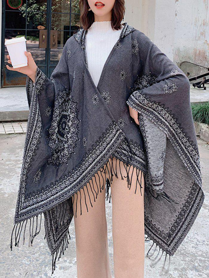 Online Bohemian Flower Fringe Hooded Open Front Cape