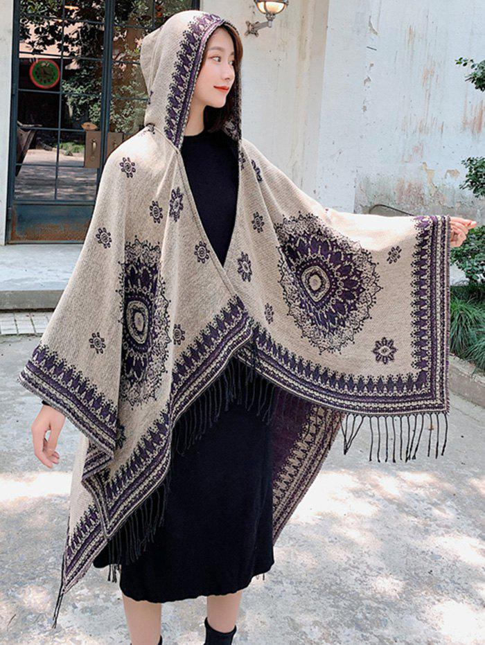 Affordable Bohemian Flower Fringe Hooded Open Front Cape