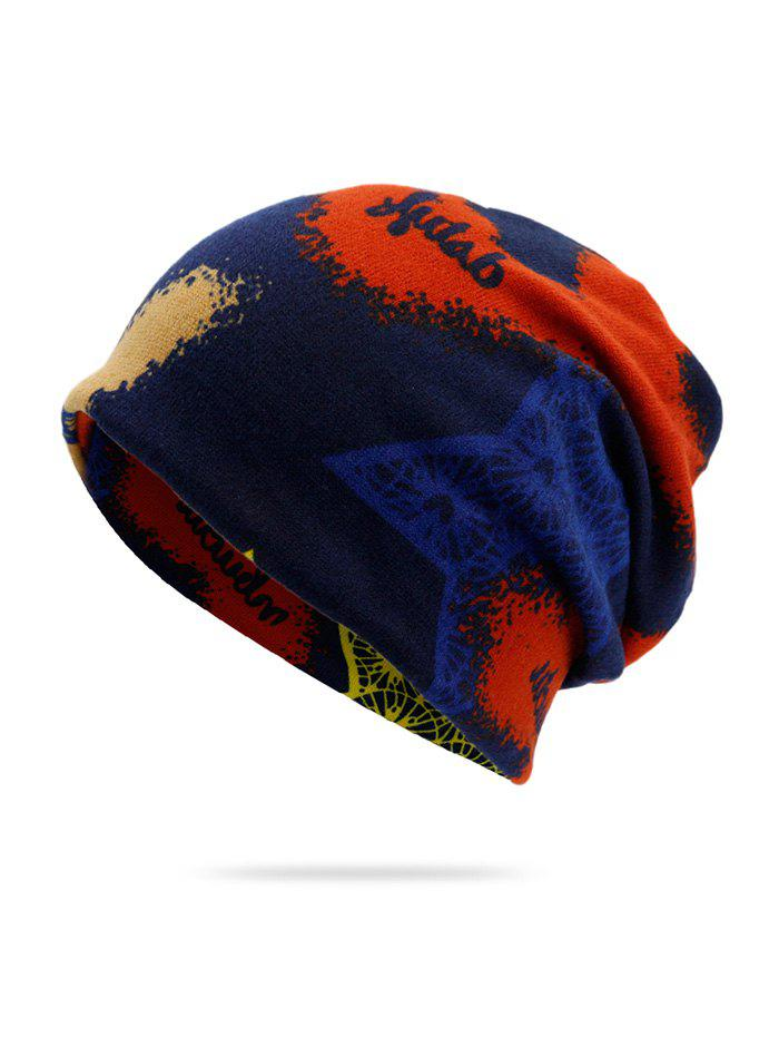 Fancy Knitted Dual Use Print Scarf Hat
