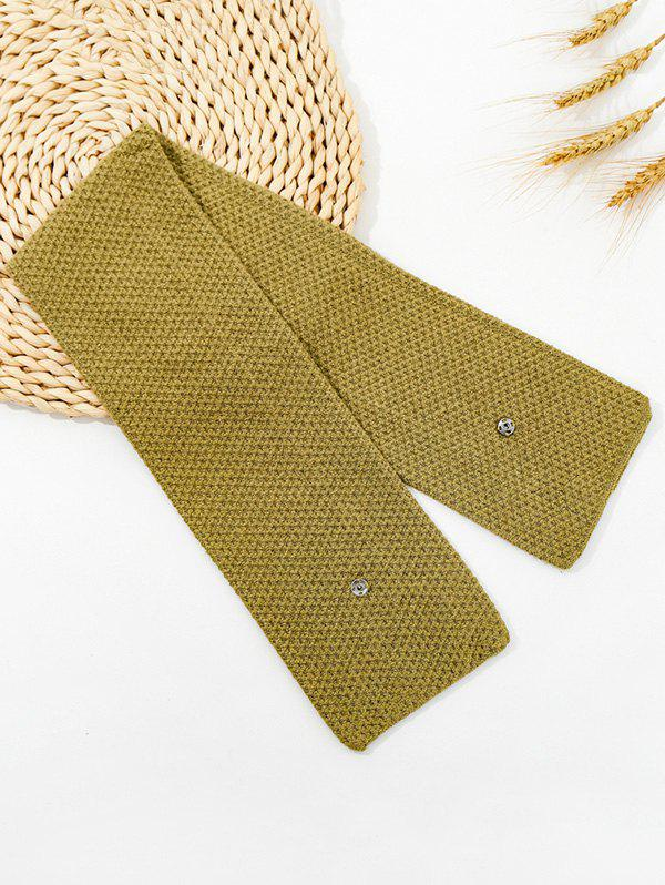 Fancy Winter Snap Button Double-knit Long Scarf