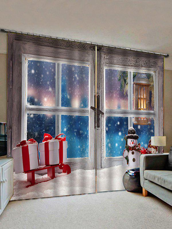 Affordable 2 Panels Christmas Window Snowman Gifts Print Window Curtains