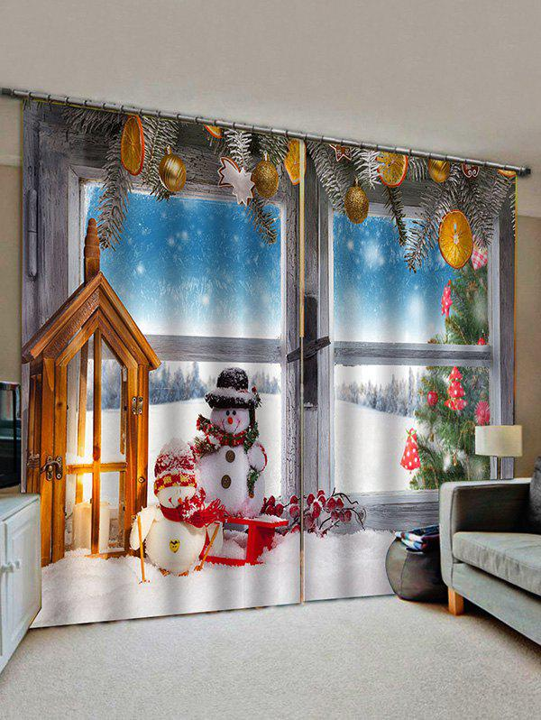 Unique 2 Panels Christmas Window Snowman Couple Print Window Curtains