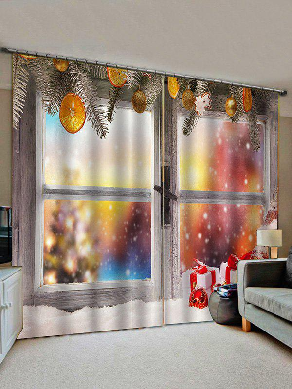 Chic 2 Panels Christmas Wooden Window Print Window Curtains