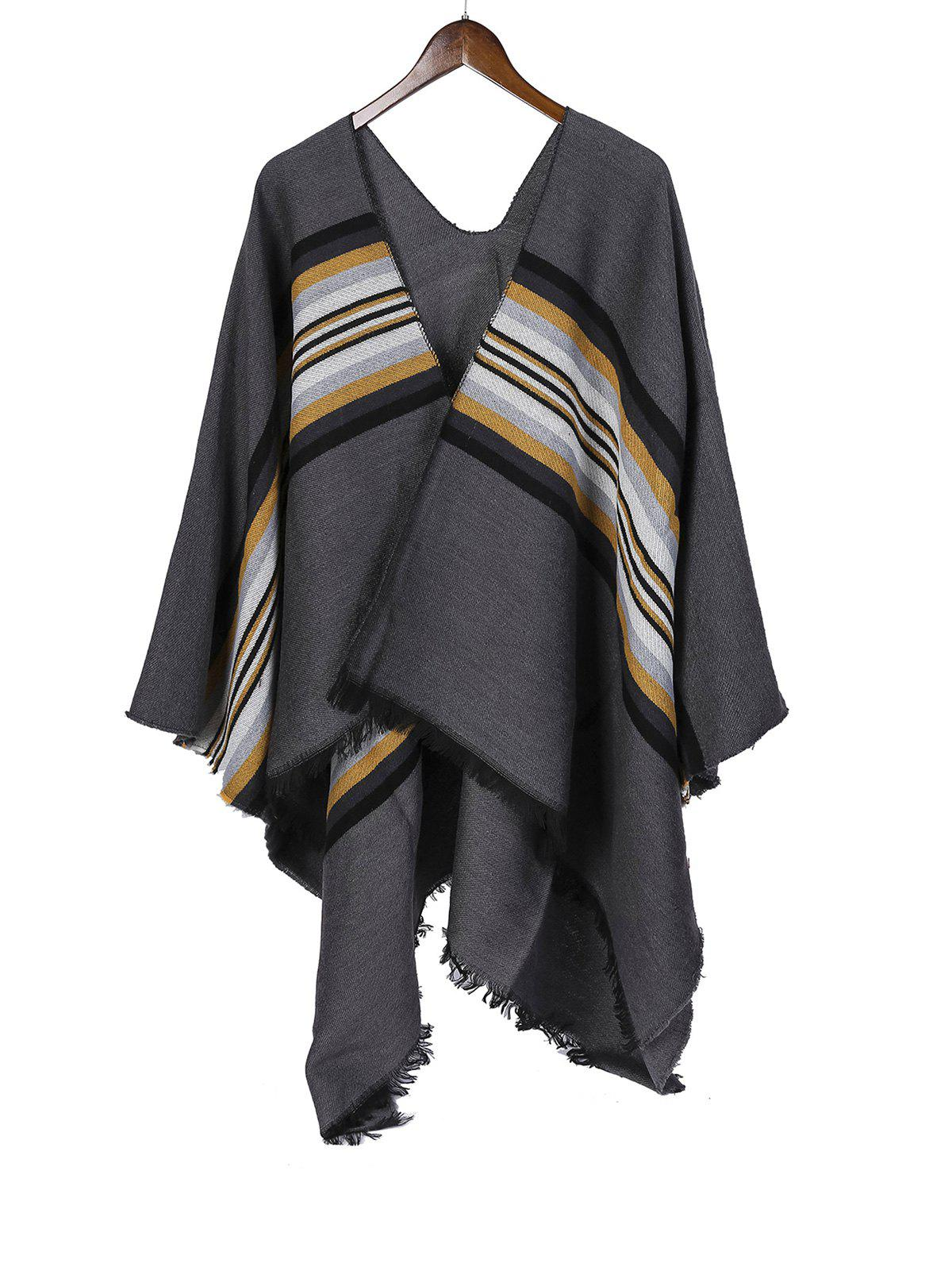 Best Striped Pattern Fringe Faux Cashmere Split Shawl