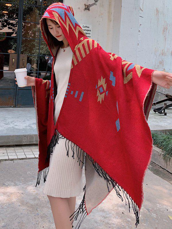 Shops Tribal Style Geometric Fringe Hooded Open Front Cape