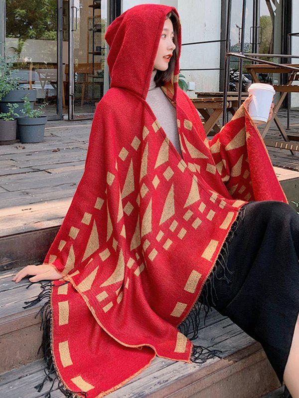 Latest Tribal Style Geometric Fringe Hooded Open Front Cape
