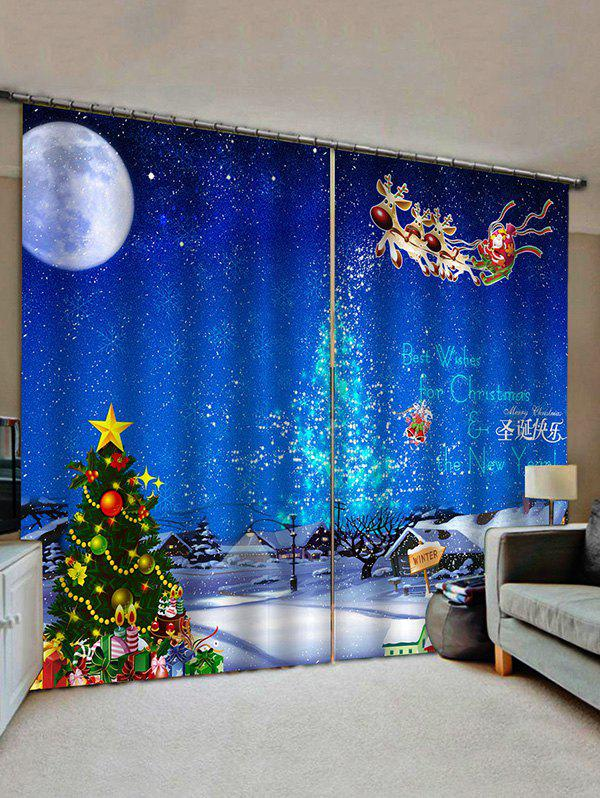 New Christmas Snow Moon Night Scenery Print Decorative Window Curtains