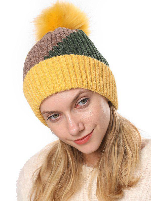 Store Colorblock Chenille Fleece Knitted Bobble Hat