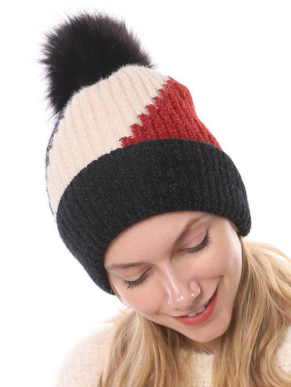 Chic Colorblock Chenille Fleece Knitted Bobble Hat