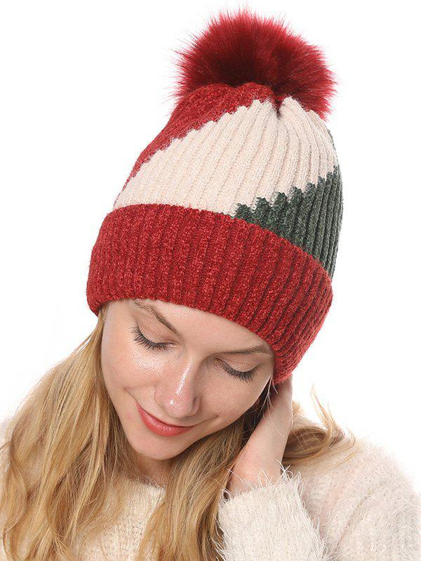 Outfits Colorblock Chenille Fleece Knitted Bobble Hat