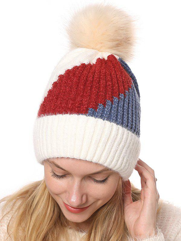 Outfit Colorblock Chenille Fleece Knitted Bobble Hat