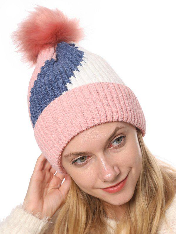 Online Colorblock Chenille Fleece Knitted Bobble Hat