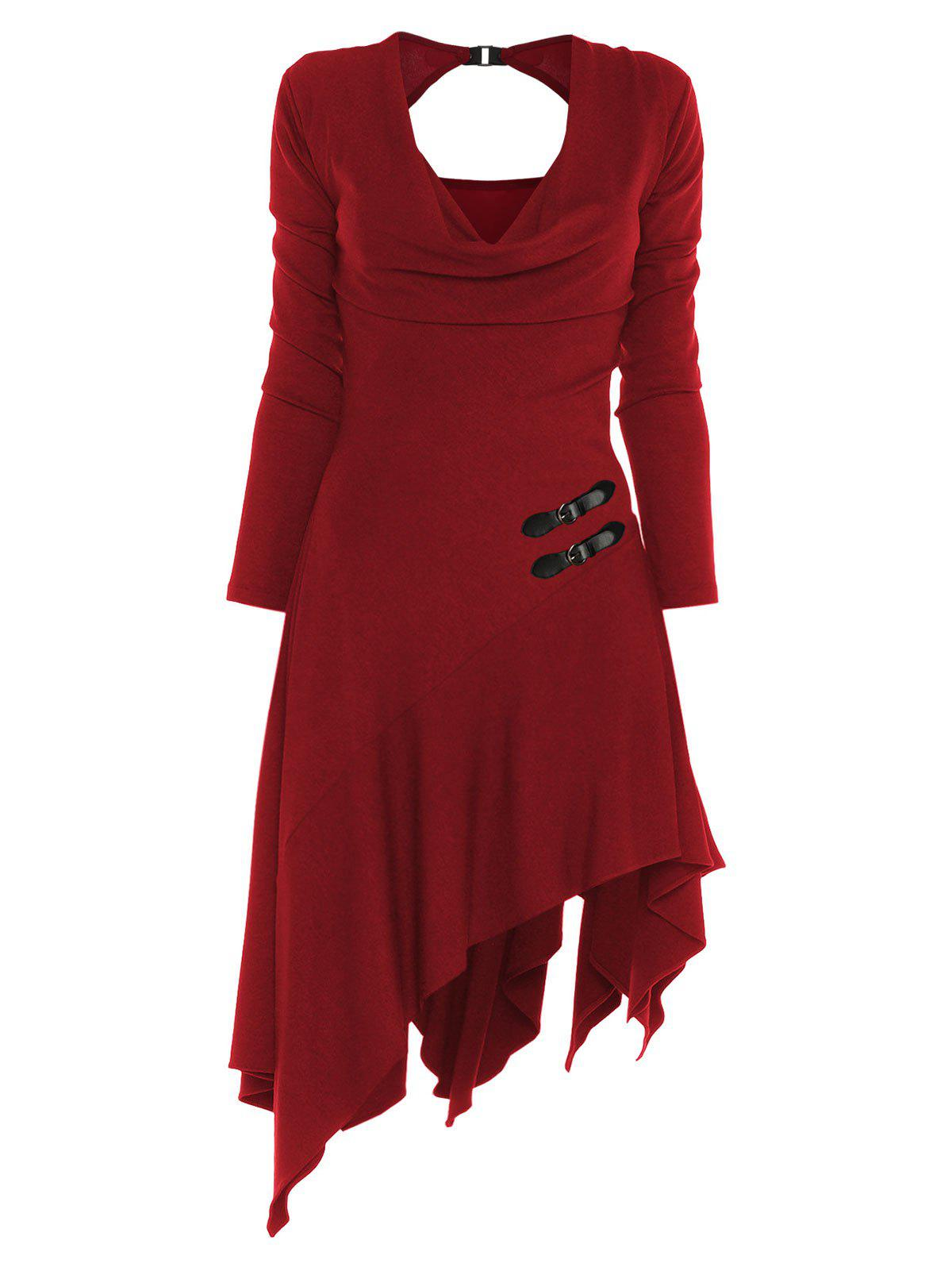 Online Buckle Cut Out V Neck Asymmetrical Dress