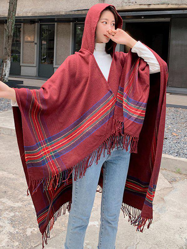 Best Travel Plaid Fringed Hooded Open Front Cape
