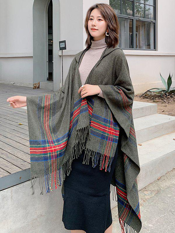 Fashion Travel Plaid Fringed Hooded Open Front Cape