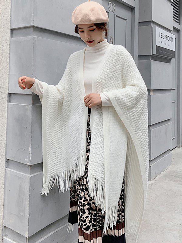 Sale Grid Fringe Knit Open Front Poncho Cape