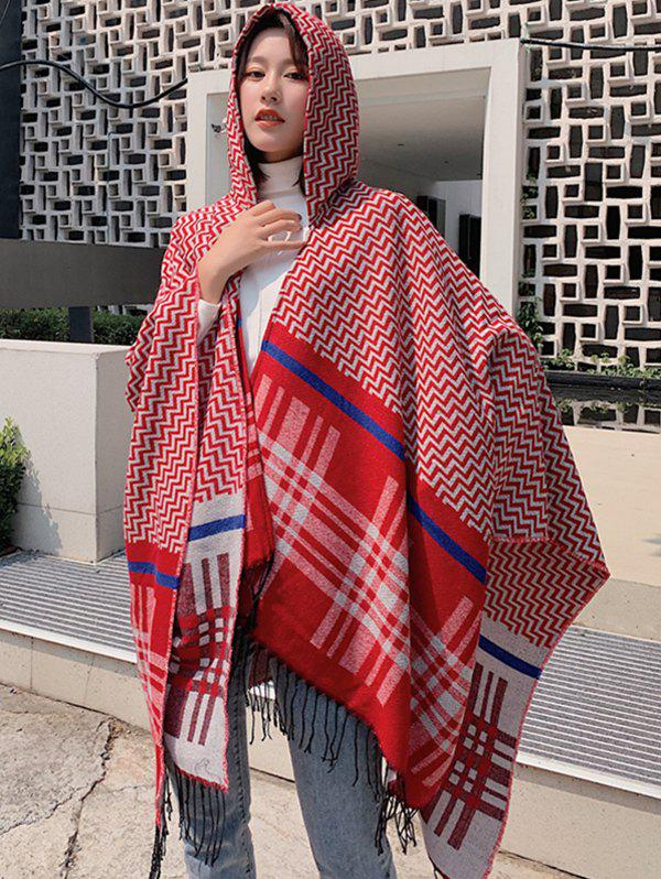 Trendy Zigzag Plaid Fringe Hooded Open Front Poncho Cape