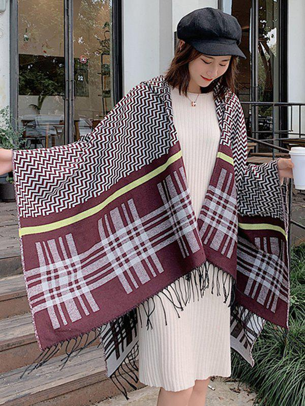 Outfits Zigzag Plaid Fringe Hooded Open Front Poncho Cape
