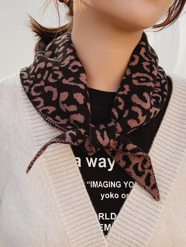Shop Leopard Knitted Triangle Double-sided Scarf