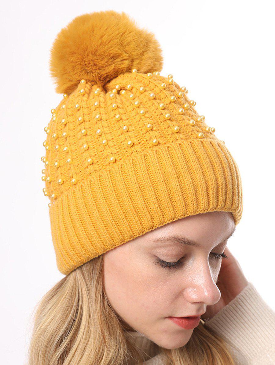 Fancy Pearl Decorate Knitted Winter Hat