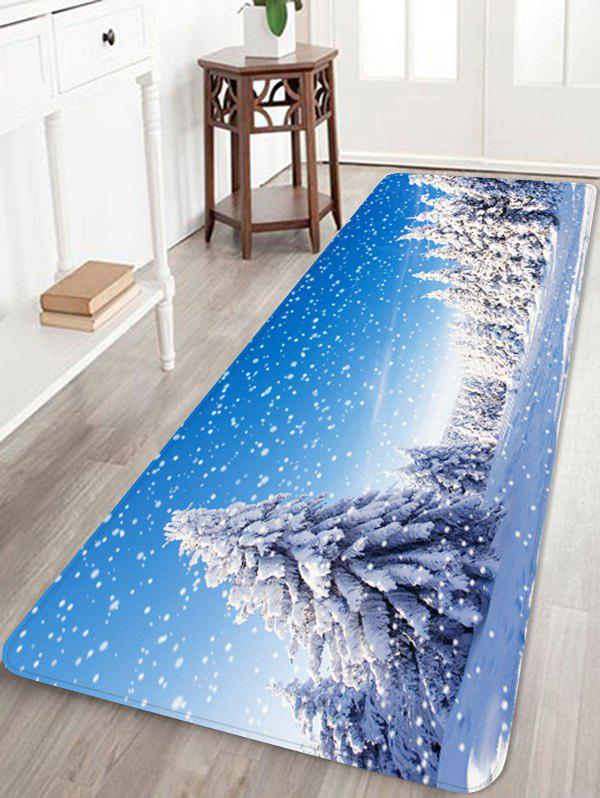 Shop Snow Pine Tree 3D Digital Print Floor Rug