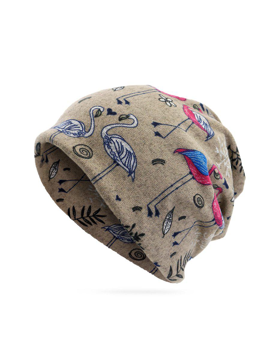 Shops Knitted Dual Use Flamingo Print Scarf Hat